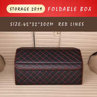 E-FOUR Leather Rear Trunk Storage Box Black with Red Sewing Large Capacity Travel Stow Tidy Functional Car Bag Accessories Cars