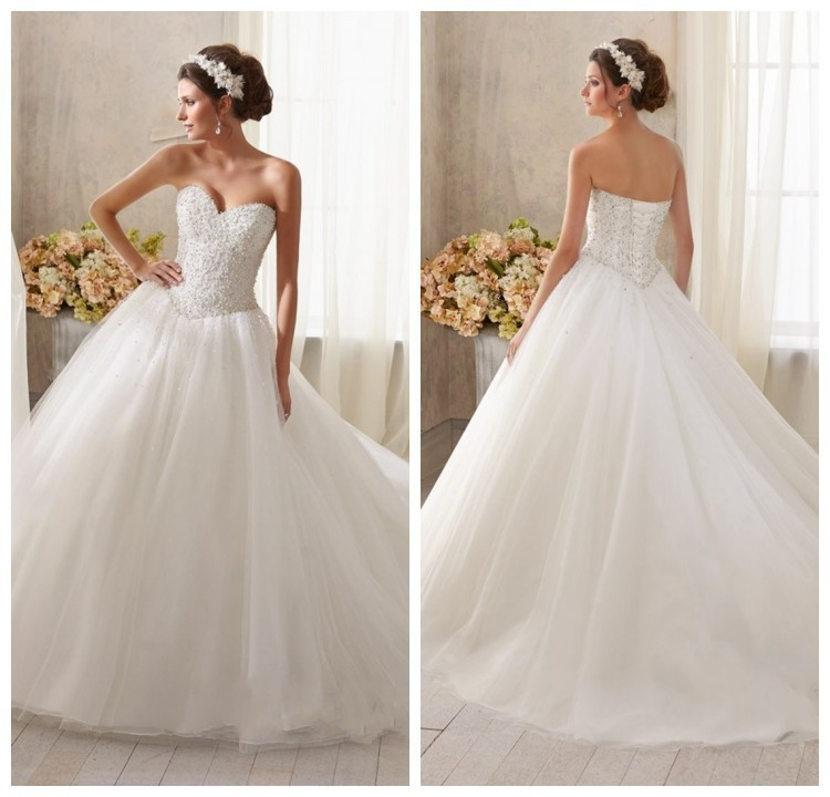 Elegant princess ball gown sweetheart neckline crystal for Sweetheart corset wedding dress