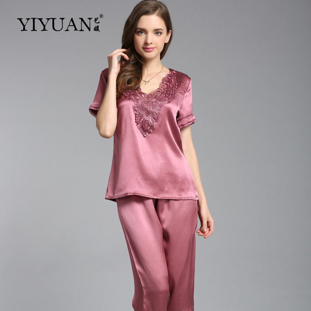 100% Natural Silk Pajamas Female Embroidery V-Neck Women Sleepwear Heavy Silk  Pyjama Sets 3ecdc200b