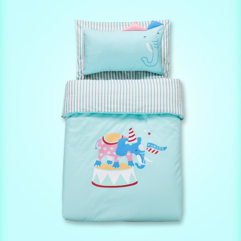 Princess Pony Elephant pattern baby bedding set, pure cotton 3 pcs/set quilt cover bedspread pillowcase pink blue yellow color