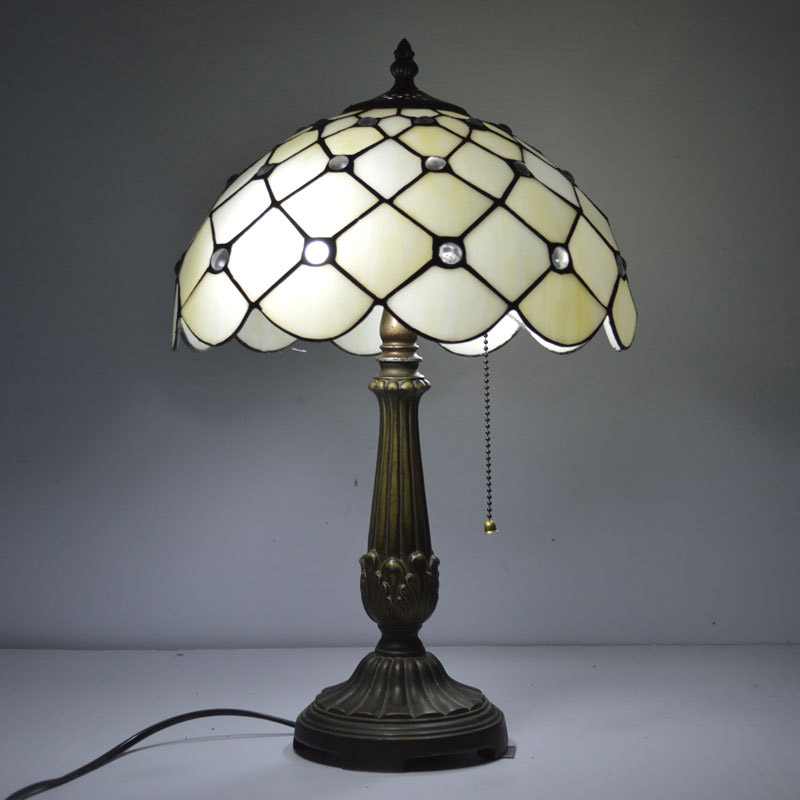 12 Inch Tiffany Table Lamp Mediterranean Sea Clear Glass Beads Stained Glass Bedside Lamp E27 110-240V ars арс эфирное масло эвкалипт 10 мл