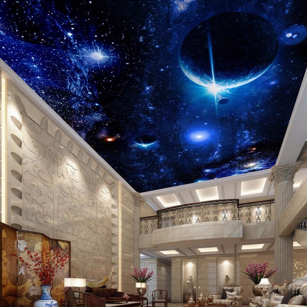 Modern Wallpaper 3D Wall Murals For Living Room Ceiling Mural Star Planet Universe Space Custom Wallpaper Photo Wall Paper 3D