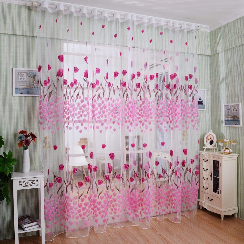 Beautiful Flower Sheer Voile Curtain Window Door Balcony ... on Beautiful Bedroom Curtains  id=67958
