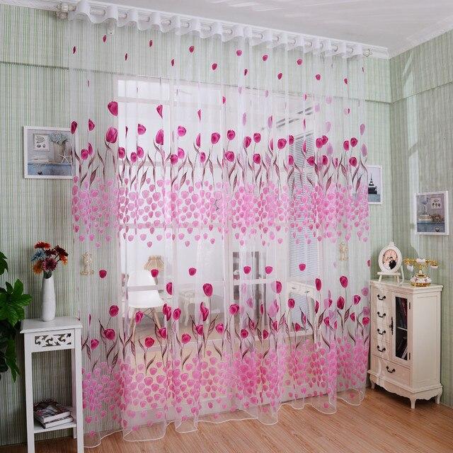 mooie bloem sheer voile gordijn venster deur balkon schermen slaapkamer woonkamer doorschijnende gordijnen kleurrijke 1 st