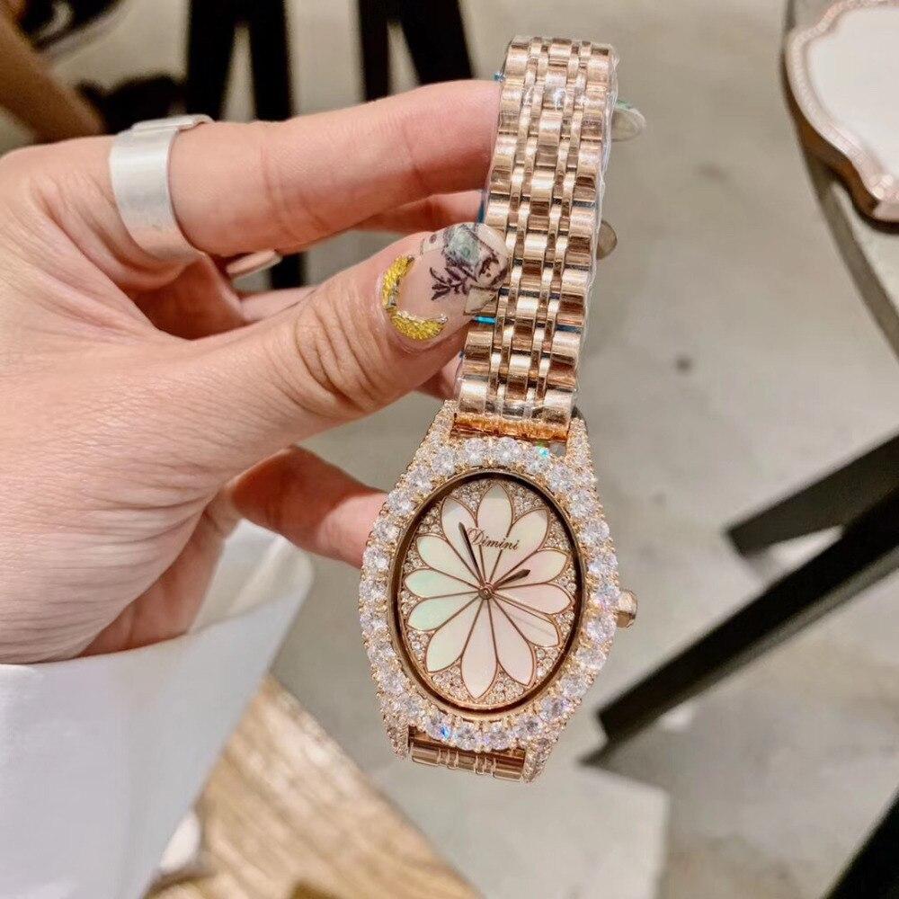 Nouveau Designer femmes strass bijoux montres Vintage ovale mode Montre-bracelet coquille naturelle Lotus Montre Quartz cristaux Montre