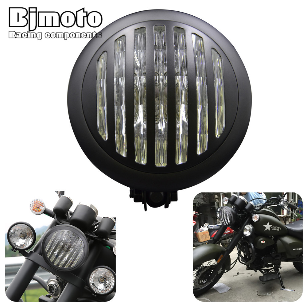 HL-028 Motorcycle High/Low Beam Bullet 6.75 Headlight Headlamp H/L Grill Cover For Harley Bobber Streetfighter Choppers Cruiser ...