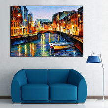 100%Handpainted Abstract Bustling Harbour Knife Oil Painting On Canvas Thick Oil Painting For Home Decor As Best Gift