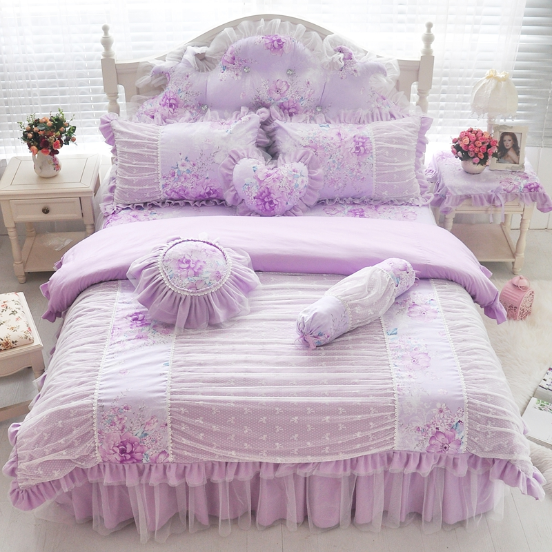 Pink blue purple cotton lace bedding set twin full queen king size girls children double single bed skirt duvet cover set gift