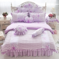 Rosa azul púrpura de encaje de algodón ropa de cama doble completa reina rey tamaño niñas niños doble única falda de la cama duvet cover set de regalo