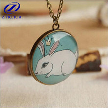 Popular Animal Forest Department Handmade Jewelry Time Gem Glass Painted Rabbit Sweater Chain Pendant Necklace D114