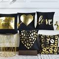 Fashion Soft Velvet Black Gilding Golden Decorative Pillow Case Seat Car Sofa Throw Cushion Cover Arrow Sweet Love Hearts Lips