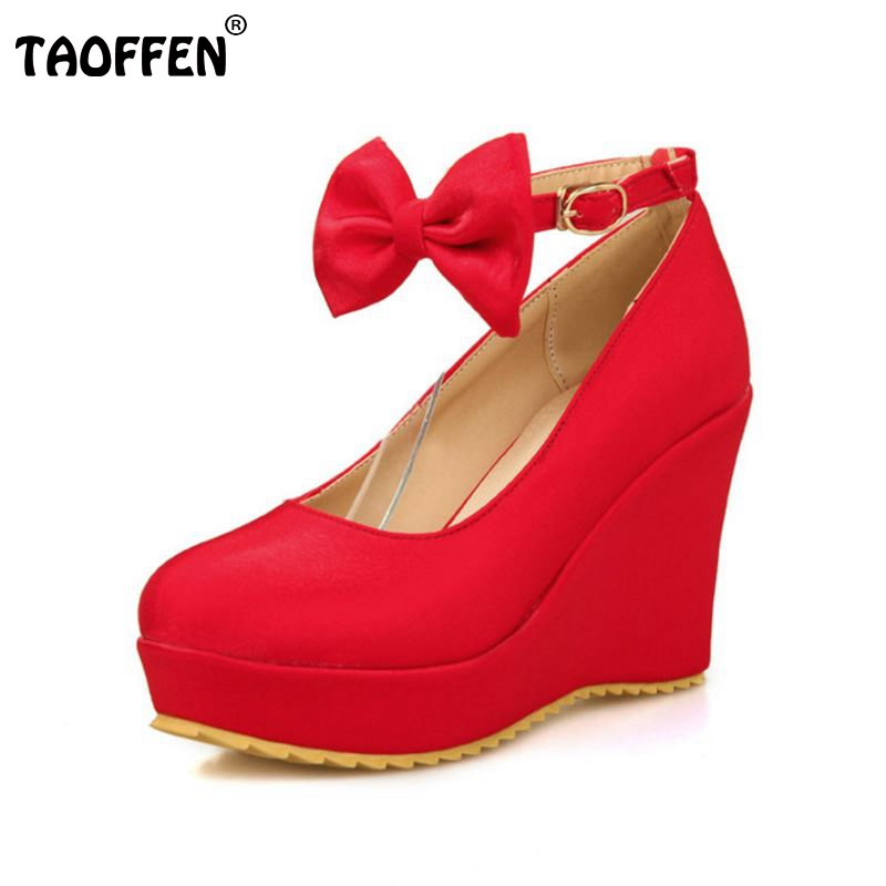 ФОТО size 30-50 women wedge shoes spring summer autumn sweet bowknot quality pumps fashion ankle strap platform footwear shoes P22570