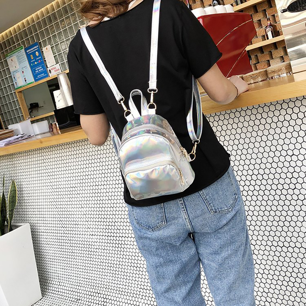 Women Holographic Mini Backpacks Tote Zipper Shoulder Bag Leather Small Backpack