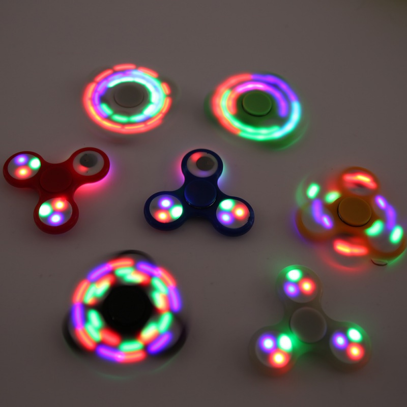 LED Light Hand Finger Spinner Fidget Plastic EDC Hand Spinner For Autism and ADHD Relief Focus Anxiety Stress Toys Gift 7 colors