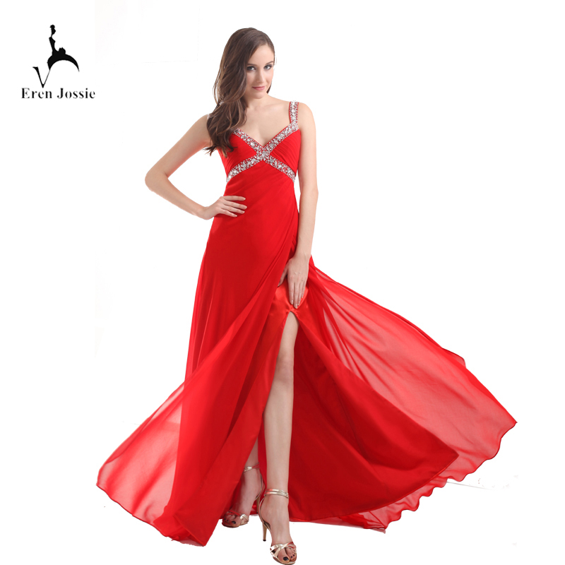 Eren Jossie Young Ladies Fashion Red Chiffon Split   Evening     Dress   Long Party With Beads   Dresses   Prom Robe De Soiree