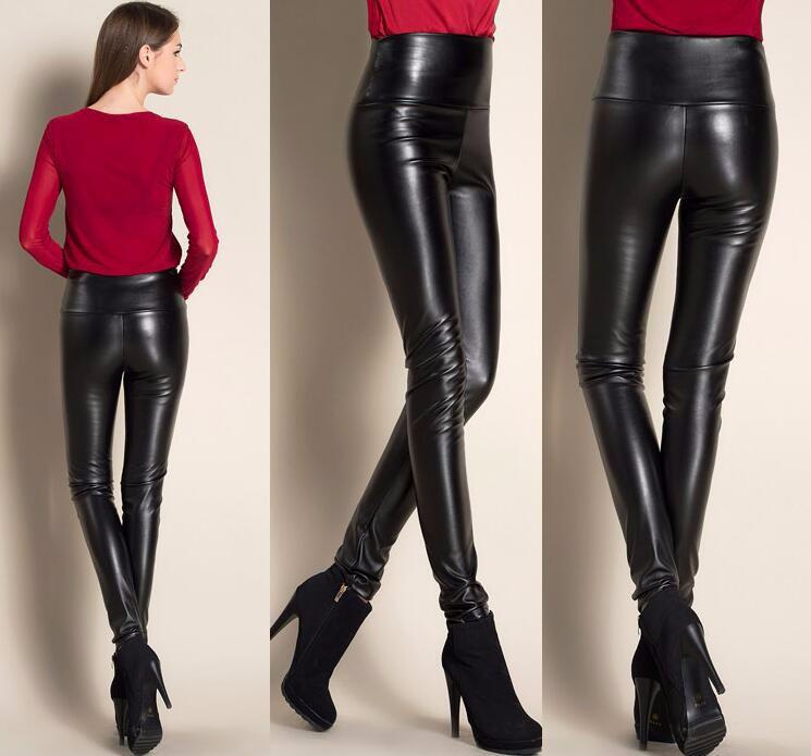 Leggings winter Women High Waist PU Leather Legging Slim Faux Pants Female Fashion Warm Leggings Women 7