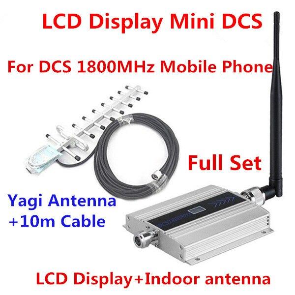 Ensemble complet 13db Yagi + antenne de plafond! Amplificateur cellulaire 4G DCS de répétiteur de Signal de téléphone portable d'affichage à cristaux liquides 4G LTE GSM DCS 1800 MHZ