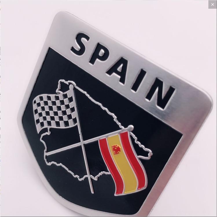 200 Stks Aluminium Spanje Vlag Auto Spatbord Stickers Emblemen