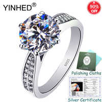 Sent Silver Certificate! YINHED Luxury Classic 6 Claws Engagement Rings for Women 925 Sterling Silver 2ct 8mm CZ Ring ZR554
