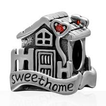Auténticos 100% plata esterlina 925 Sweet Home Beads Fit Europeo Pandora pulseras DIY Joyería de los encantos