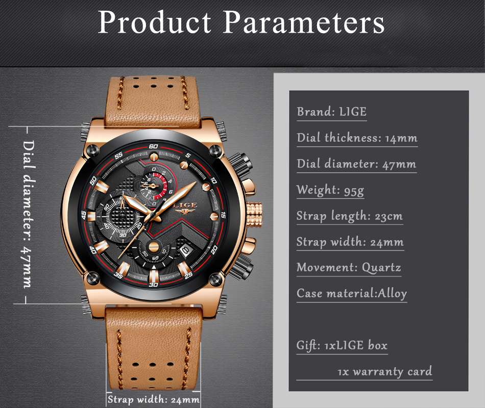 Reloje 18 LIGE Men Watch Male Leather Automatic date Quartz Watches Mens Luxury Brand Waterproof Sport Clock Relogio Masculino 10