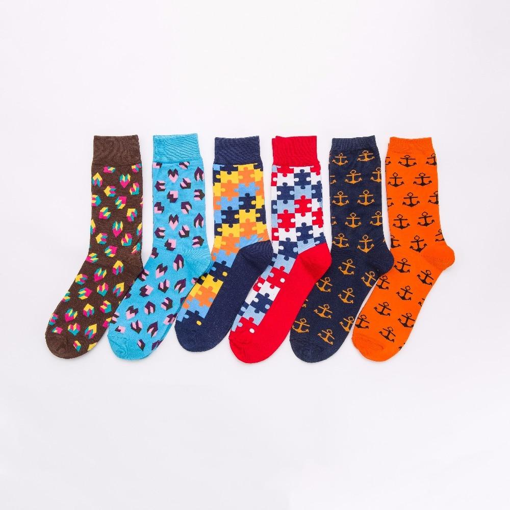 OKOUFEN Brand Fashion Mens Combed Cotton Long Socks Men Set Colorful Funny Happy Socks Wedding Sock Business Sock Gift
