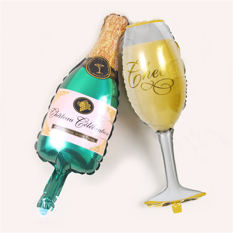 Champagne Glass Balloons Birthday Party Decoration Balloon Wine Bottle Goblet Shape Aluminum Film Balloon Cartoon Hat