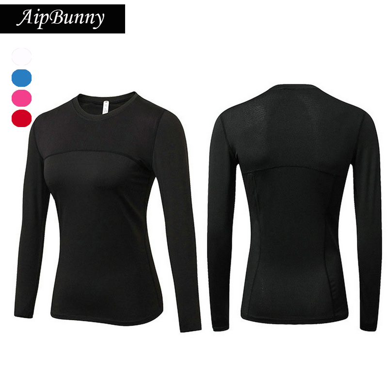 Aipbunny Women's Compression Sports Jersey Shirt Long Sleeve Workout T-shirts Gym Yoga Top Fitness Running Shirts Sport Tees crazyfit mesh hollow out sport tank top women 2018 shirt quick dry fitness yoga workout running gym yoga top clothing sportswear