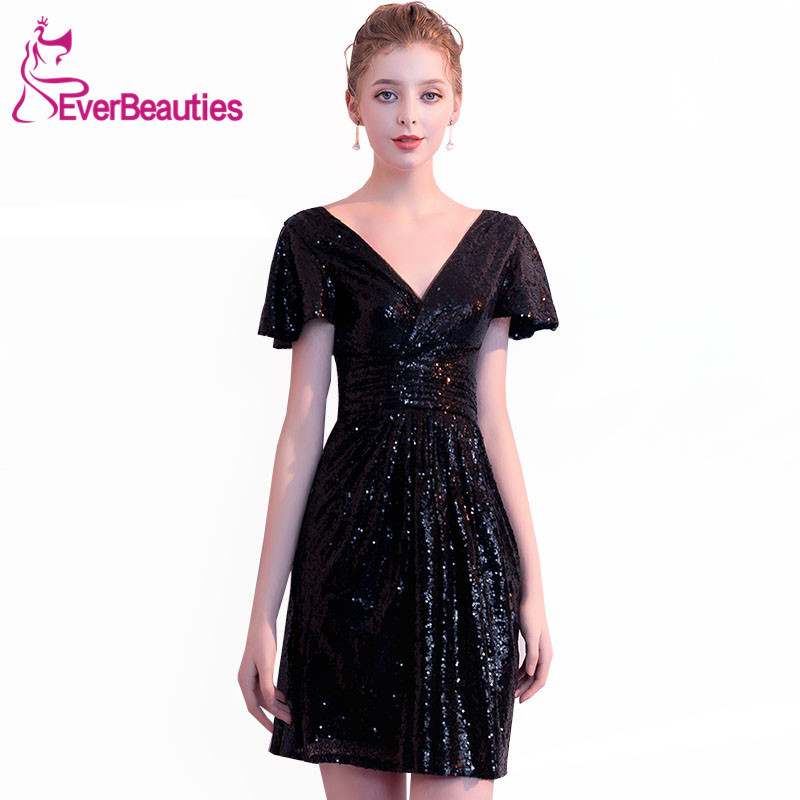 Robe De   Cocktail   Sequins   Cocktail     Dresses   2019 V-Neck Short Sleeves Homecoming   Dresses   Women's Prom Party   Dresses