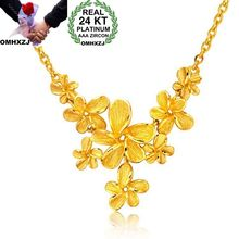 OMHXZJ Wholesale European Fashion Woman Girl Party Wedding Gift Flower 24KT Yellow Gold Pendant Necklace NA184