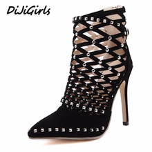 DiJiGirls Women pumps high heels shoes woman gladiator sandals pointed toe flock cut-outs rivets party wedding dress stiletto