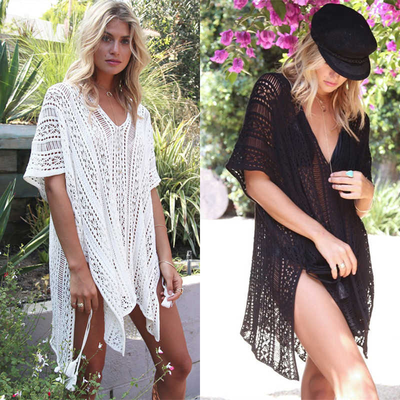 1325040c3e ... Bath For Beach Dress Cover Ups Pareo Tunic Women's Wear Women Kaftan Up  2019 Loose Large Size Knitted Ed Flower Summer on Aliexpress.com | alibaba  group