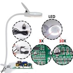 Wtyczka USB lupa Clip on blat biurko lampa LED czytanie 3x 10x duża soczewka lupa z lampa stołowa LED PD 5S w Lupy od Narzędzia na