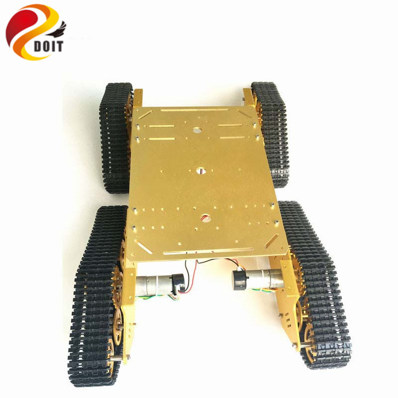 DOIT 4WD Metal Robot Tank Tracked Chassis with 4 Motor Aluminum Alloy Frame Controlled by Arduino by APP Phone RC Remote Control diy tracked robot frame model 7 dof abb manipulator tk3a tracked chassis with motor servo control board and xd 229 auno r3