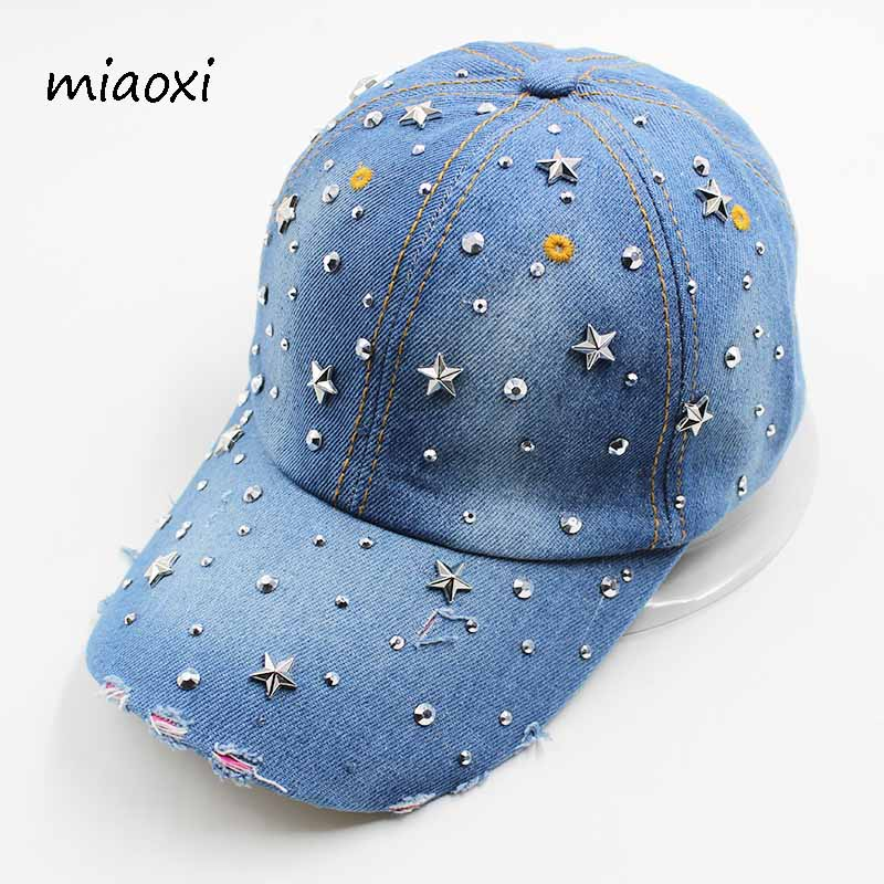 miaoxi New High Quality Women's Hat Cap Baseball Denim Rhinestone Caps Cotton Snapback Women Men Adult Sun Hats Adjustable miaoxi new fashion women summer adjustable casual baseball cap adult red hat letter caps for men cotton snapback hip hop hat