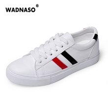 2017 Women's White Flats Casual vulcanize Shoes Shallow PU Lazy's Shoes espadrilles For women Vulcaniz Soft Loafers lace-up