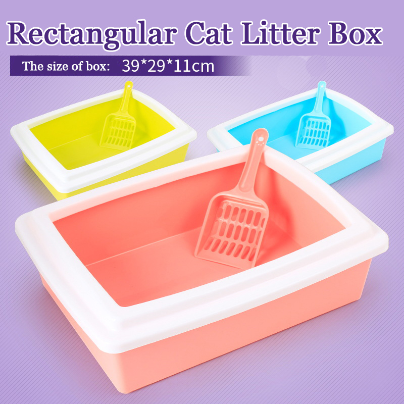 Durable Toilet For Cats Plastic Semi-closed Type Cat Litter Tray Hygienic Cat Pet Toilet Litter Tray With Free Cat Litter Scoop
