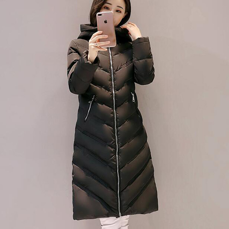 New 2017 Winter Women Coat Long Cotton Hooded Casual Parkas Thickening Outerwear Plus Size Padded Jacket Cotton Coats XT0247 2017 winter women long hooded cotton coat plus size padded parkas outerwear thick basic jacket casual warm cotton coats pw1003