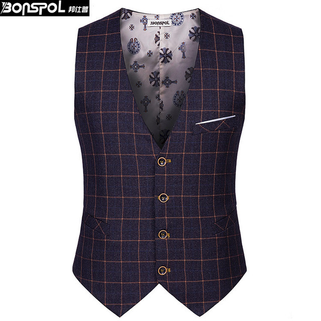Brands BONSPOL leisure men's suit vest men thin grid vest Classic Mens Suit Vest Formal Wedding Dress Slim Fit Men Waistcoat