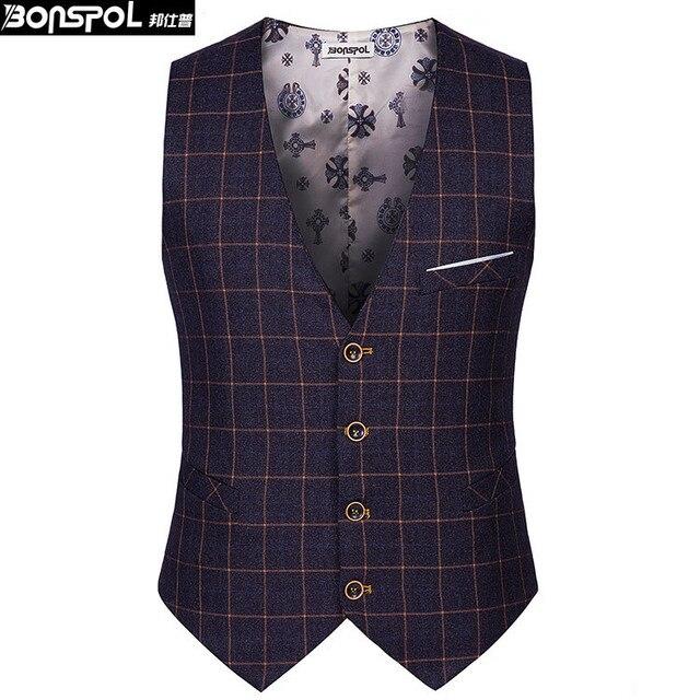 Marcas BONSPOL ocio de los hombres de los hombres traje de chaleco delgado chaleco de rejilla Classic Para Hombre Chaleco de Traje Formal de La Boda Vestido de Slim Fit Hombres chaleco