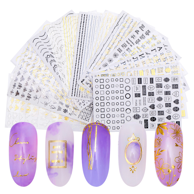 3D Nail Art Stickers Decals Black Embossed Gold Alphabet Geometric Flower Patterns Adhesive Transfer Nail Decoration