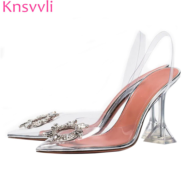 New Clear Crystal Heels Sandals Women Pointed Toe Rhinestone Buckle Thin High Heels Sexy Party Dance