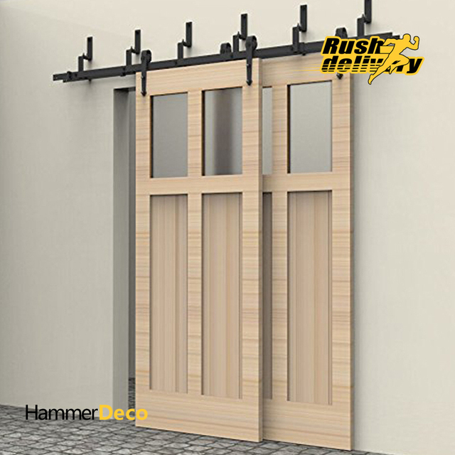 6 8ft Arrow Design Byp Sliding Barn Wood Door Closet Interior Rustic