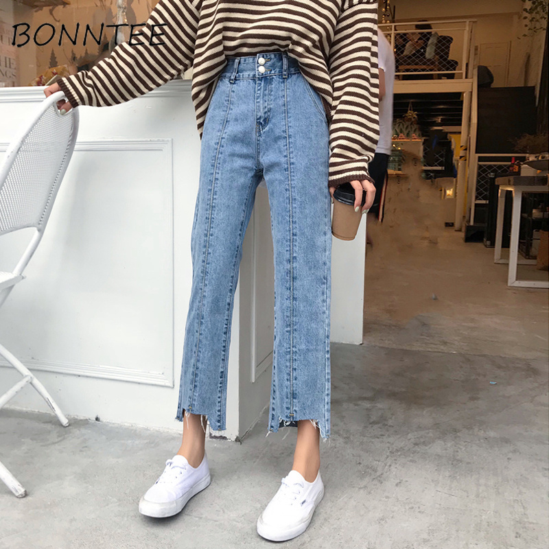 Jeans Woman High Waist Loose Buttons Korean Style Wide Leg Trousers Students Causal High Quality Ripped Denim Female Jean Simple