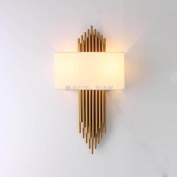 modern cloth wall lamp living room hallway Hotel American Style Copper imitating iron restaurant lamp