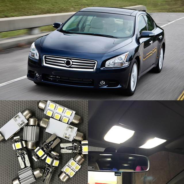12x LED Light Bulbs Interior Package Kit For Nissan Maxima 2009 2014 Bright  Map Dome