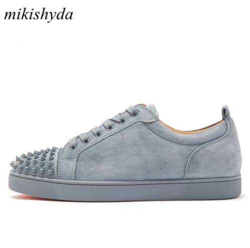 Mikishyda 2018 Spring Men Grey Suede Shoes Rivet Flat Low Top Spike Sneakers Lace-up Men Runway Chaussures Hommes Plus Size39-47Mikishyda 2018 Spring Men Grey Suede Shoes Rivet Flat Low Top Spike Sneakers Lace-up Men Runway Chaussures Hommes Plus Size39-47