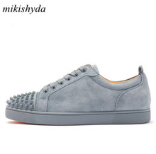 Mikishyda 2018 Spring Men Grey Suede Shoes Rivet Flat Low Top Spike Sneakers Lace-up Runway Chaussures Hommes Plus Size39-47