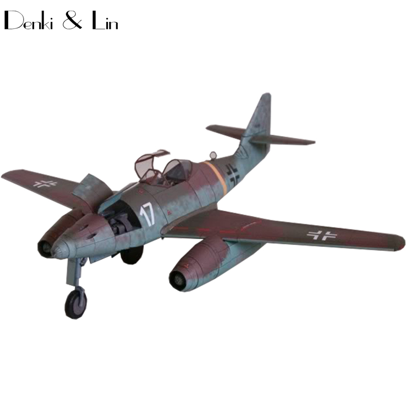 1:33 DIY 3D Messerschmitt Me 262 Fighter Plane Aircraft Paper Model Assemble Hand Work Puzzle Game DIY Kids Toy Denki & Lin 1 32 diy 3d supermarine spitfire ixc type fighter plane aircraft paper model assemble hand work puzzle game diy kid toy