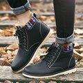 Mejores zapatos de invierno de hombres botas de agua hunter botas zapato de cuña botines de tobillo sólido charol zapatos calientes de la felpa